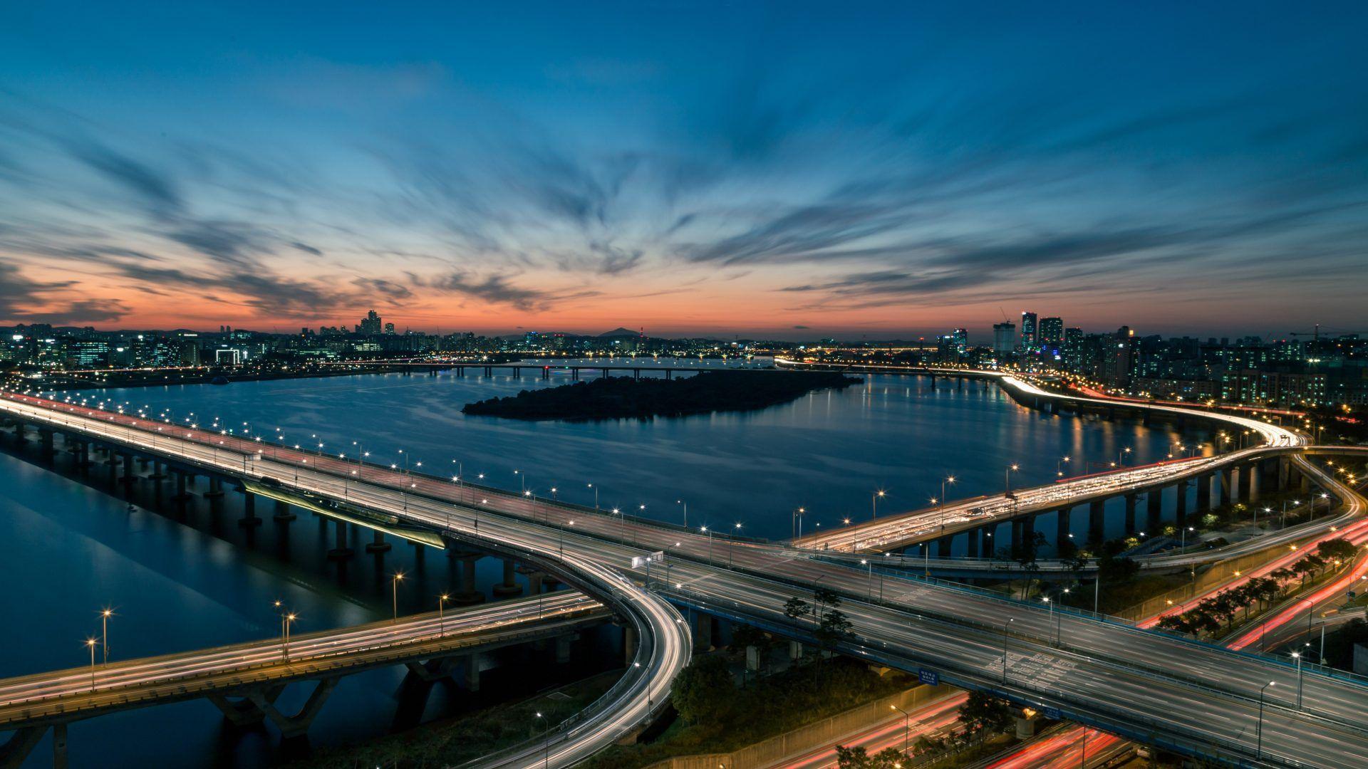 Download Wallpaper 1920x1080 River Sunset Bridge: Top Free Seoul Backgrounds