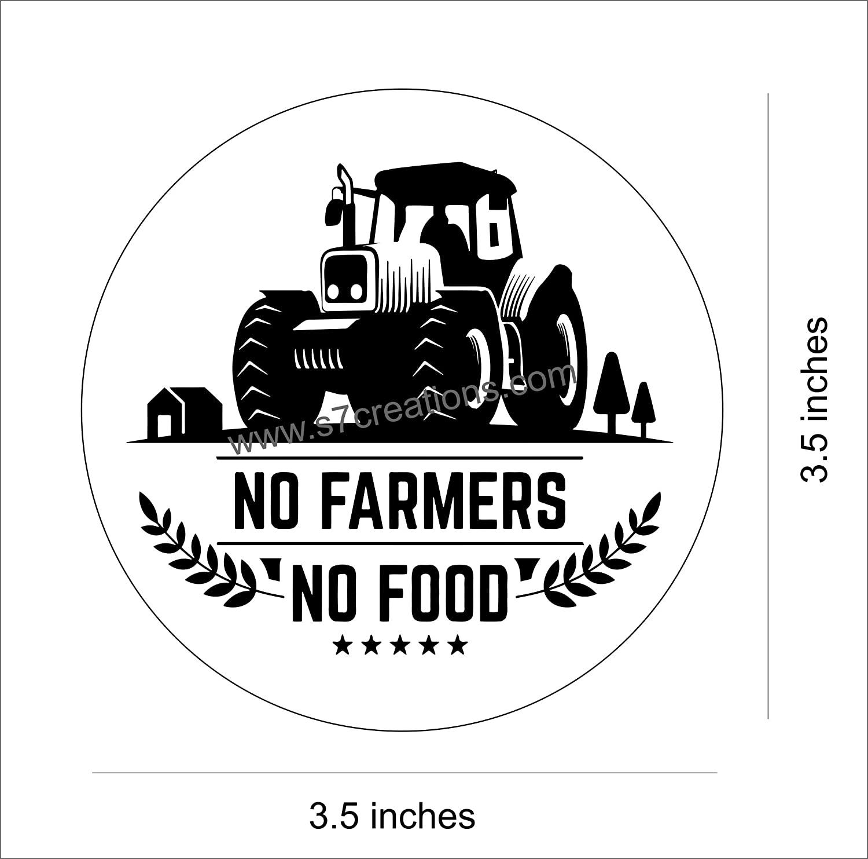 1500x1483 Không có Nông dân, Không có Đề can Hình dán Thực phẩm cho Tường Xe đạp Xe hơi trong Vinyle Đen và Trắng.  Dán nhiều lớp Hỗ trợ nông dân 3,5 inch X 3,5 inch.  Gói 2 chiếc.  : Sản phẩm văn phòng