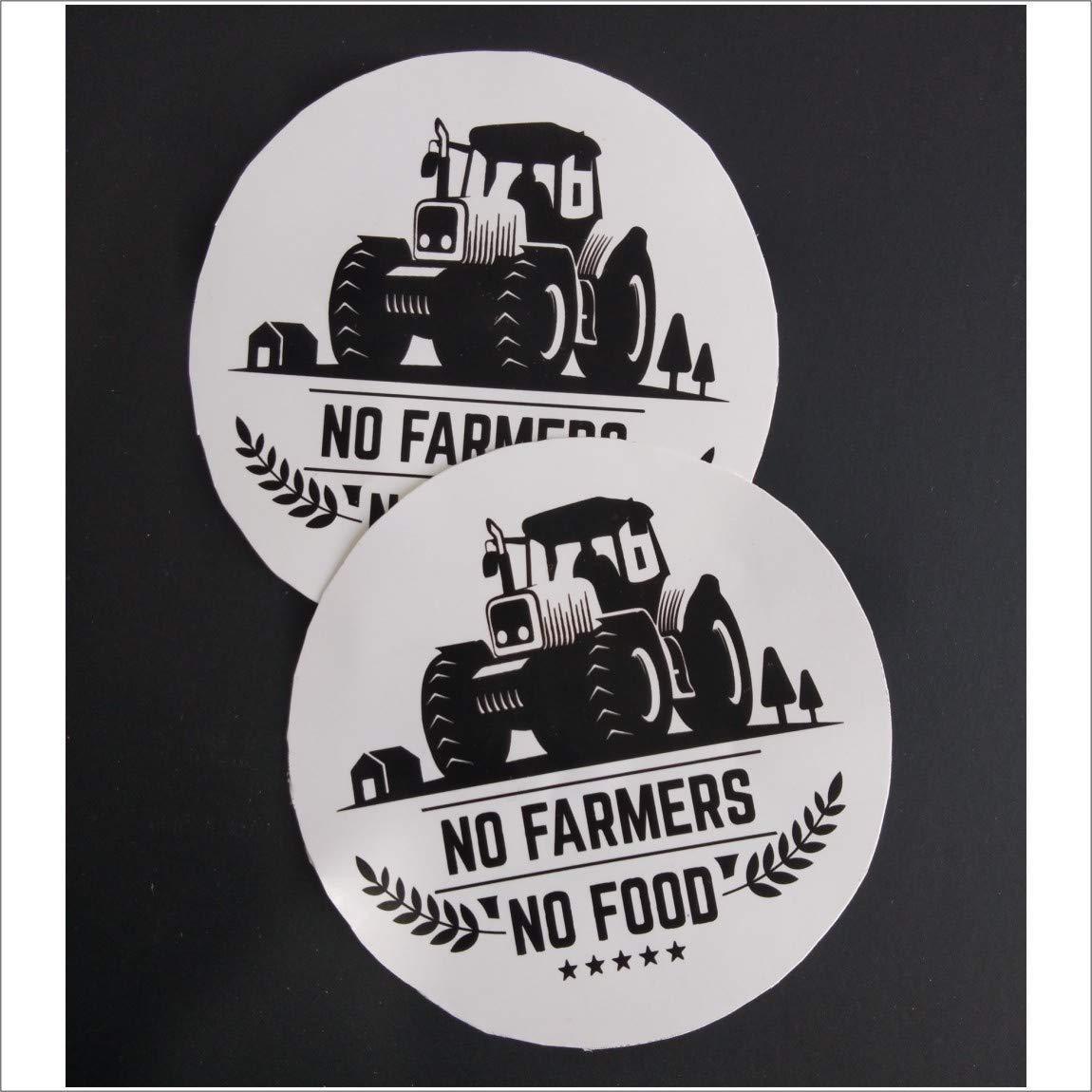 1150x1150 Không có Nông dân, Không có Đề can Hình dán Thực phẩm cho Tường Xe đạp Xe hơi trong Vinyle Đen và Trắng.  Dán nhiều lớp Hỗ trợ nông dân 3,5 inch X 3,5 inch.  Gói 2 chiếc.  : Sản phẩm văn phòng