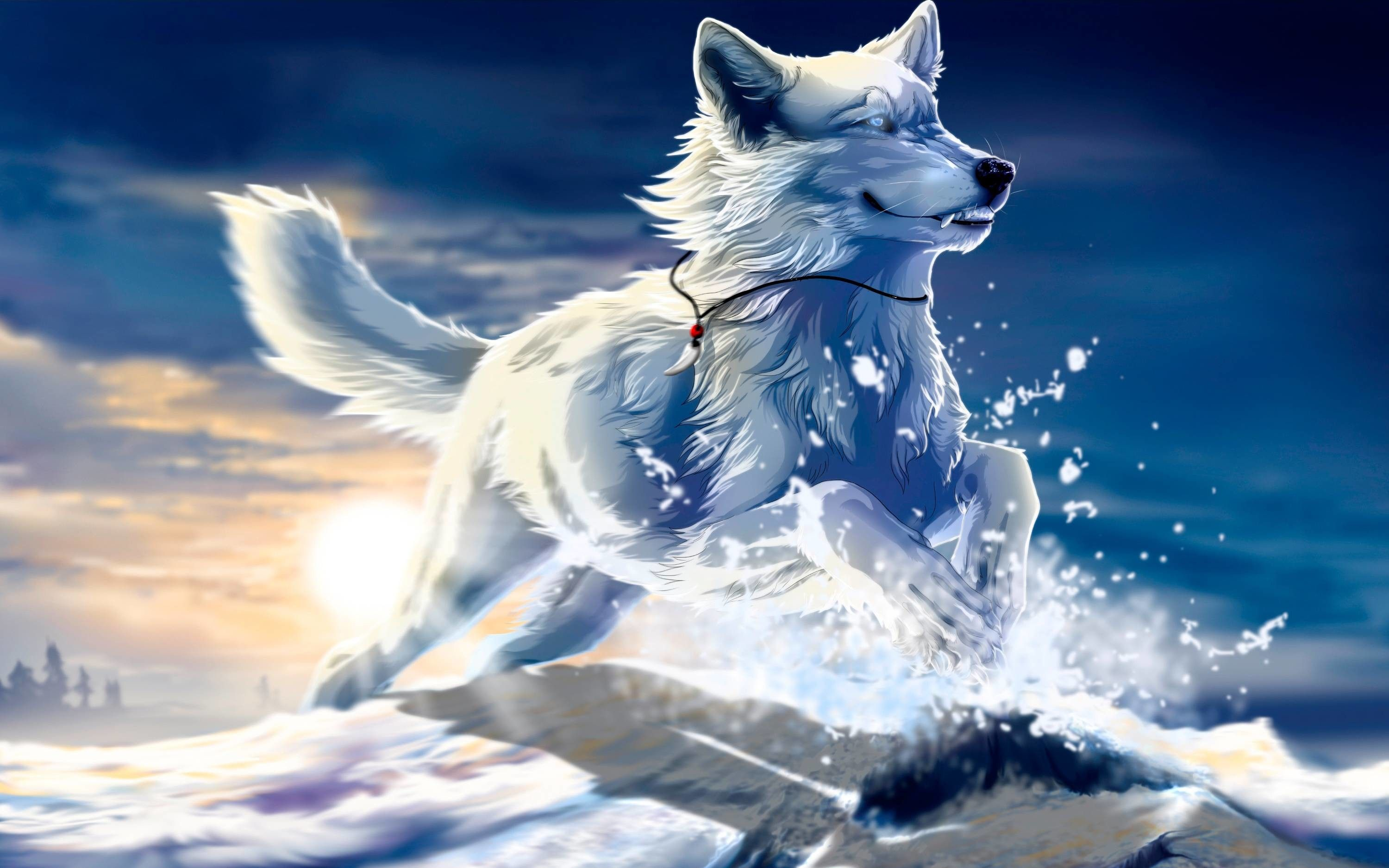 Blue Anime Wolf Wallpapers Top Free Blue Anime Wolf Backgrounds Wallpaperaccess