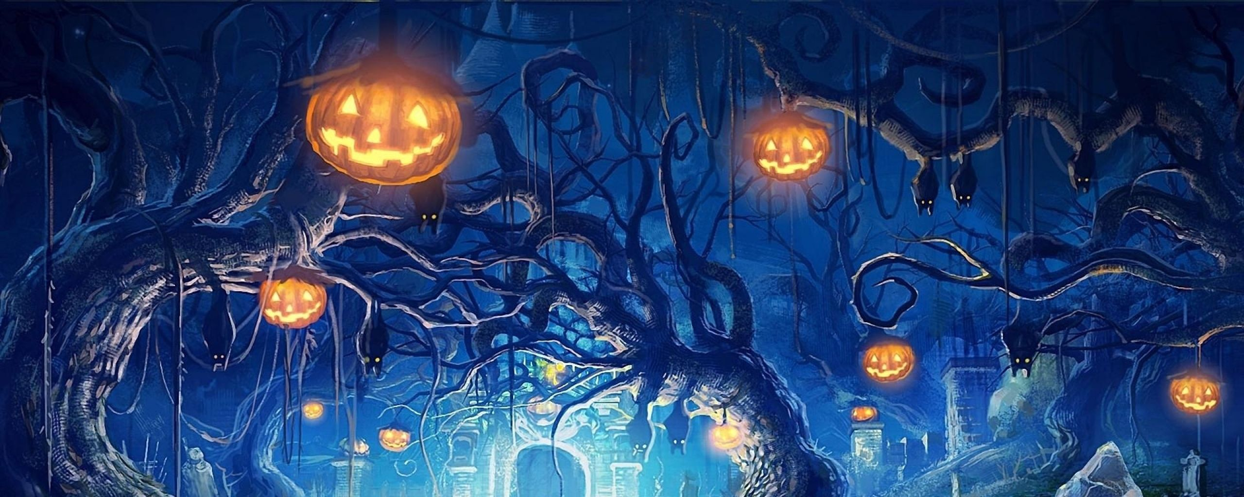2560x1024 Halloween Desktop Wallpaper Dual Monitor Resolution Halloween .