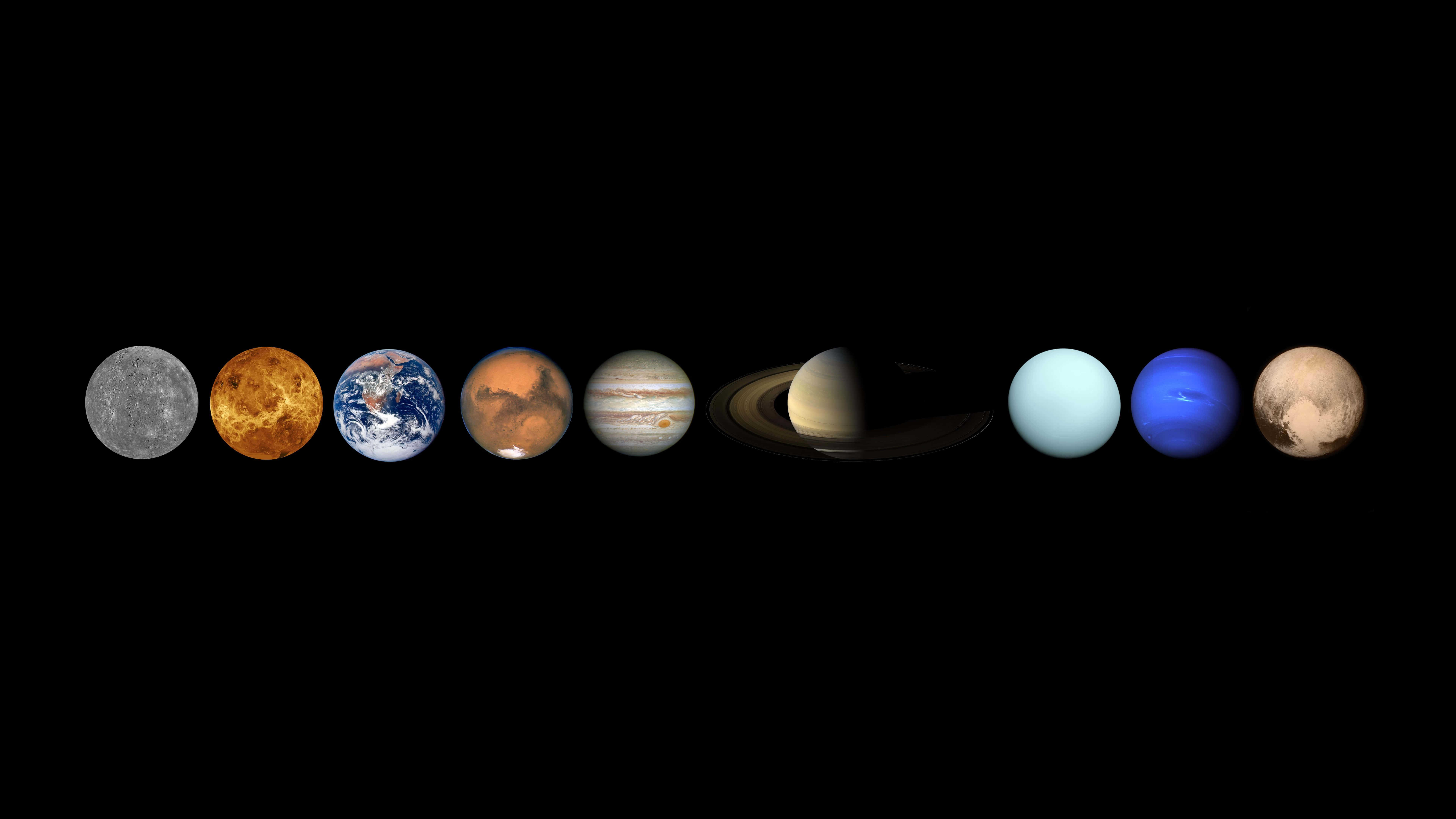 7680x4320 الكواكب في نظامنا الشمسي خلفية UHD 8K