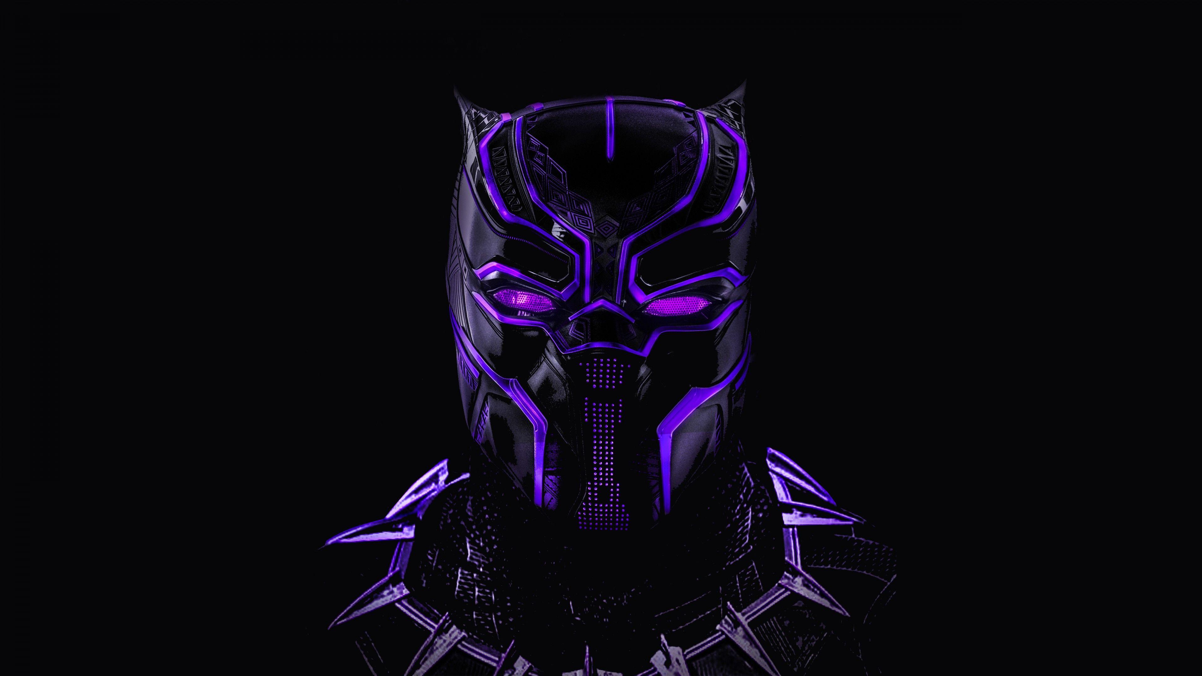 3840x2160 Black Panther Neon Artwork 5K Wallpaper