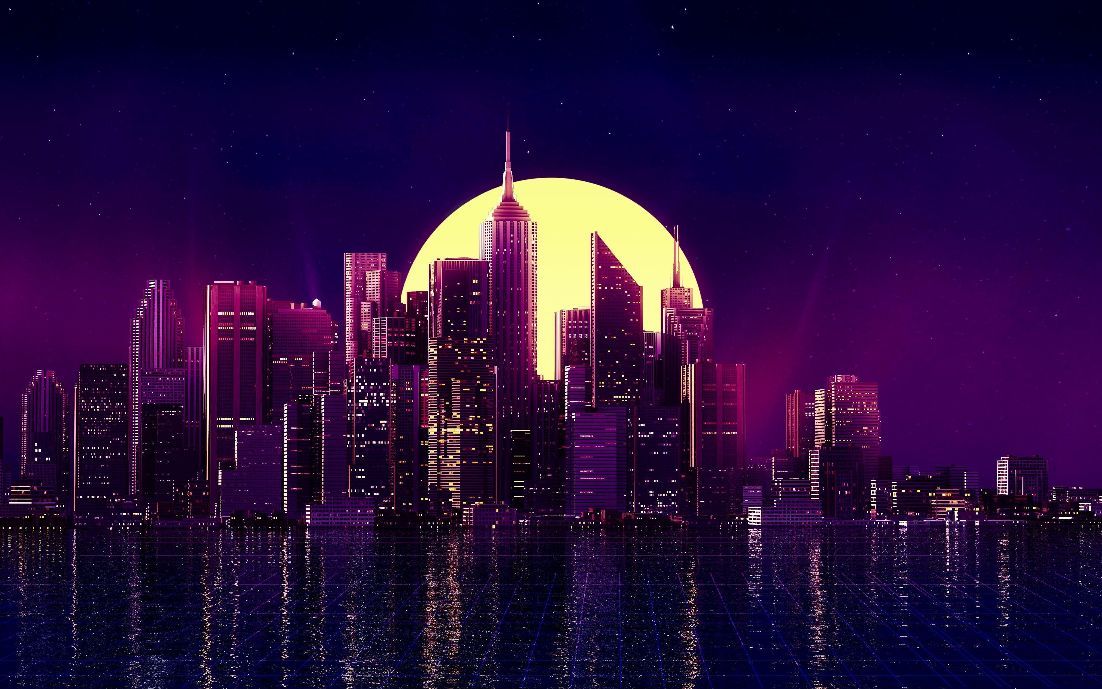 3840x2400 Tòa nhà Neon City Phản ánh Chủ nghĩa tối giản Skycrapper 4k 4k