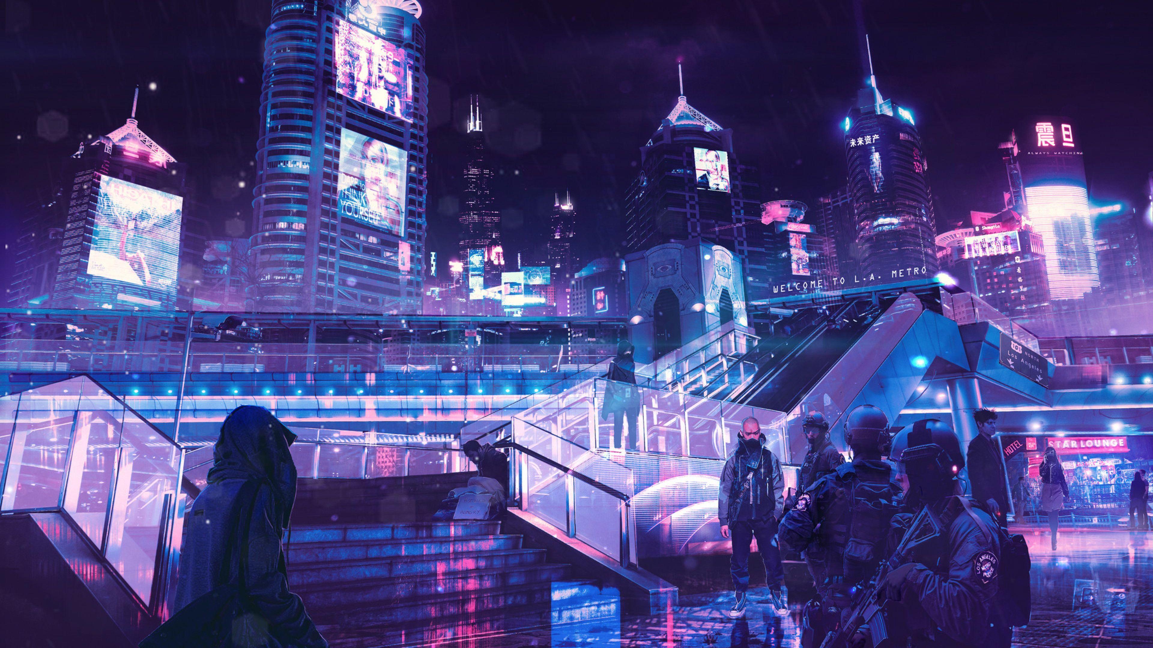 3840x2160 Cyberpunk Neon City Hình nền 4k HD 4k, Hình ảnh