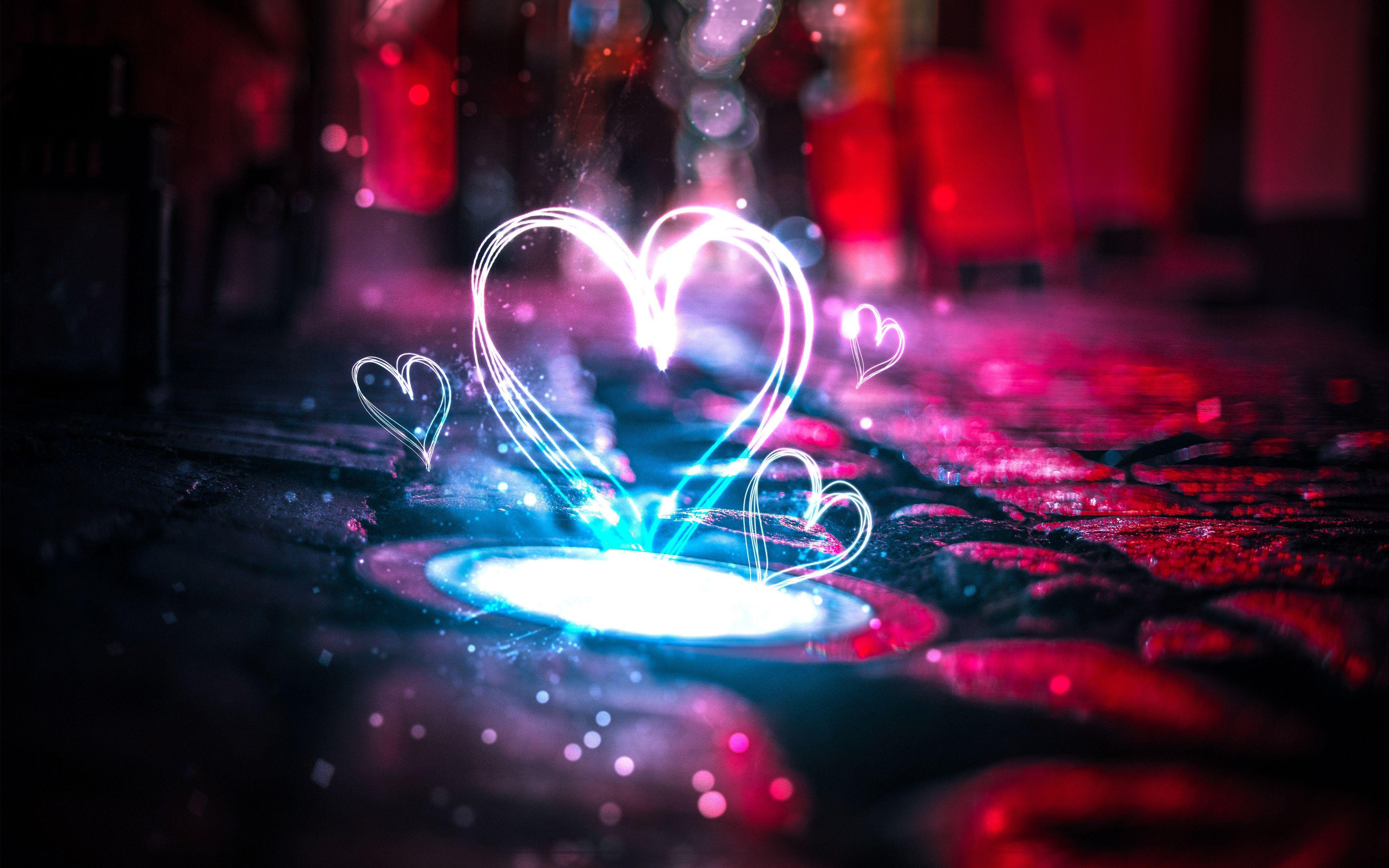 3840x2400 Neon Love Hearts Hình nền 4K