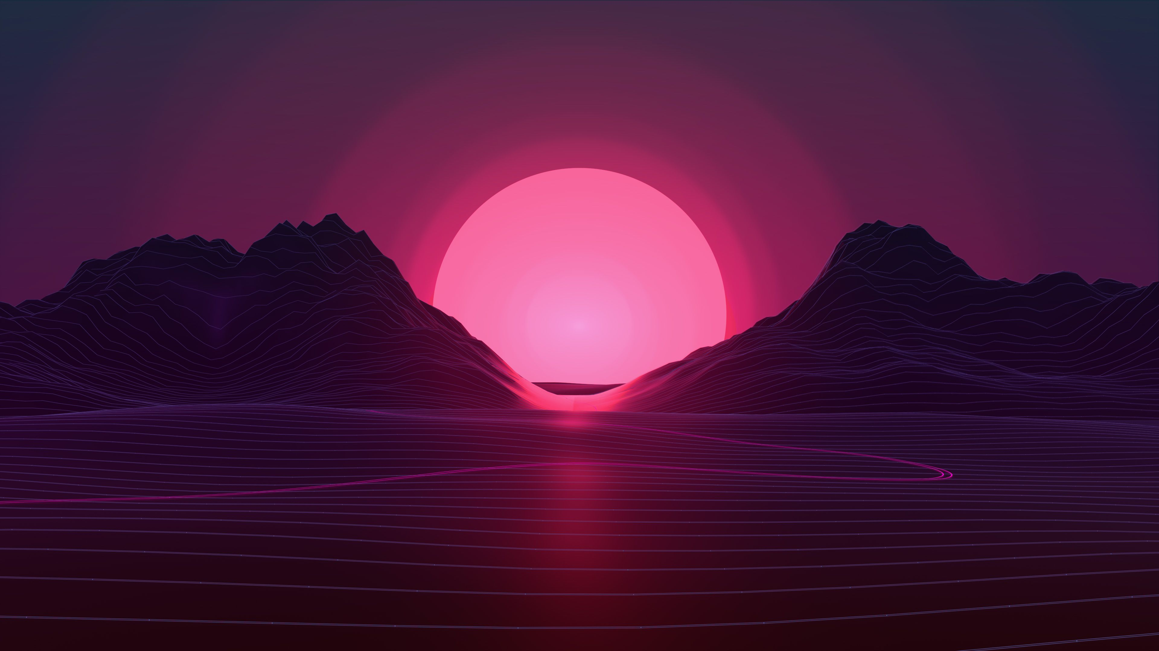 3840x2160 Neon Sunset 4k 2048x1152 Độ phân giải HD Hình nền 4k