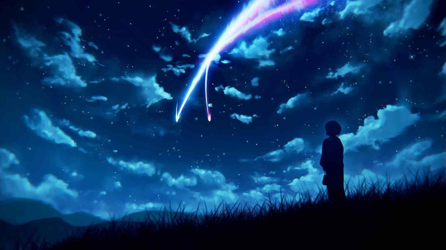 Blue anime scenery wallpapers top free blue anime - Blue anime wallpaper ...
