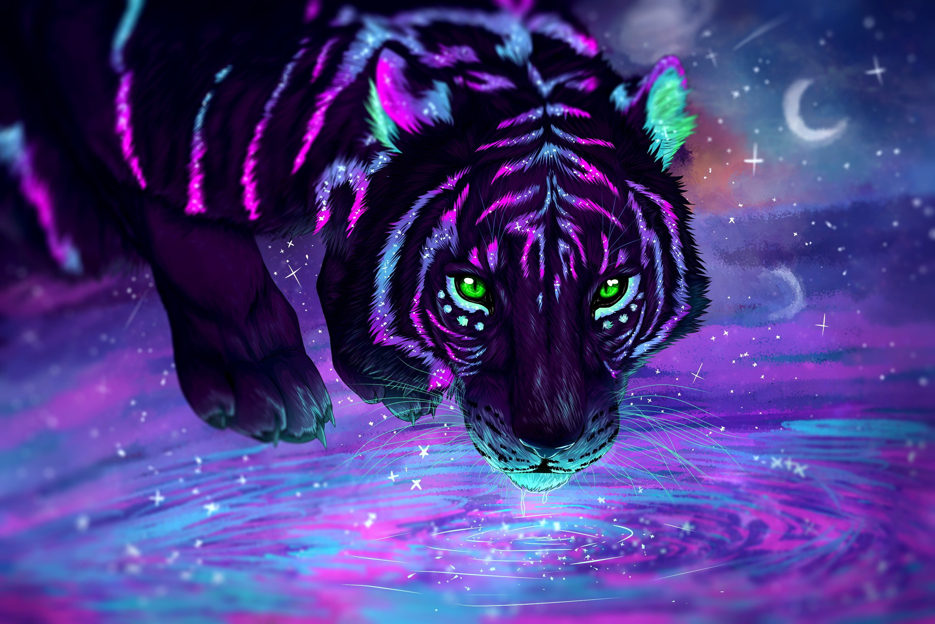 Neon Tiger Wallpapers Top Free Neon Tiger Backgrounds