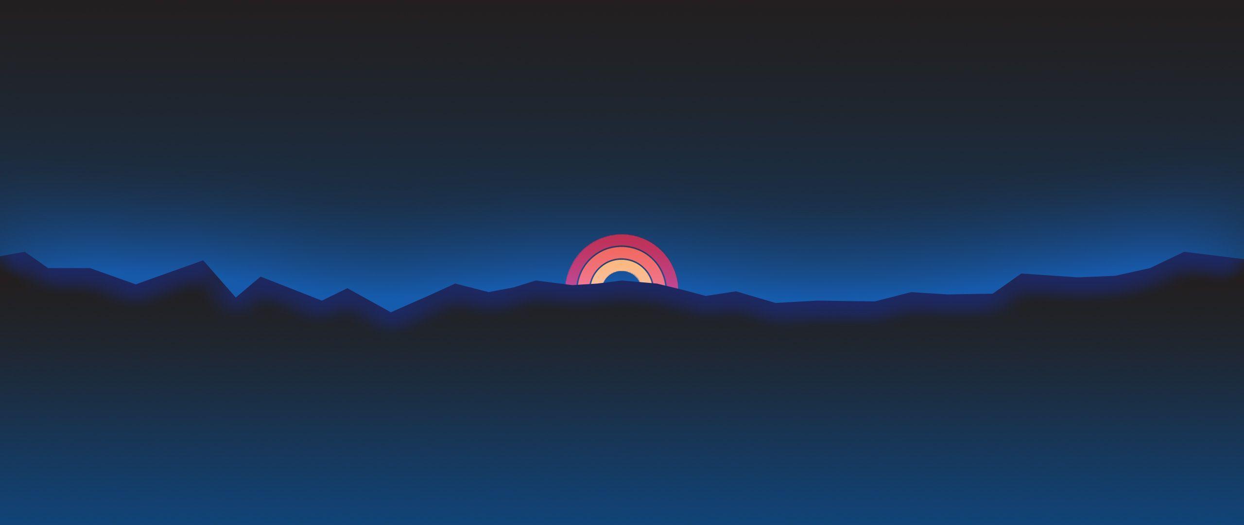 2560x1080 Minimalism Neon Rainbow Sunset Retro Style, HD Artist, 4k Wallpaper