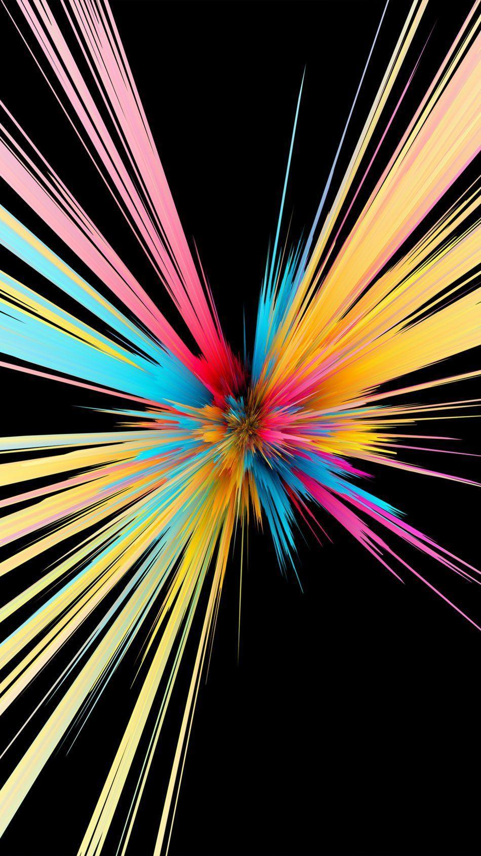 950x1689 Tải xuống các hạt đầy màu sắc Vụ nổ Nền đen 4K tinh khiết miễn phí
