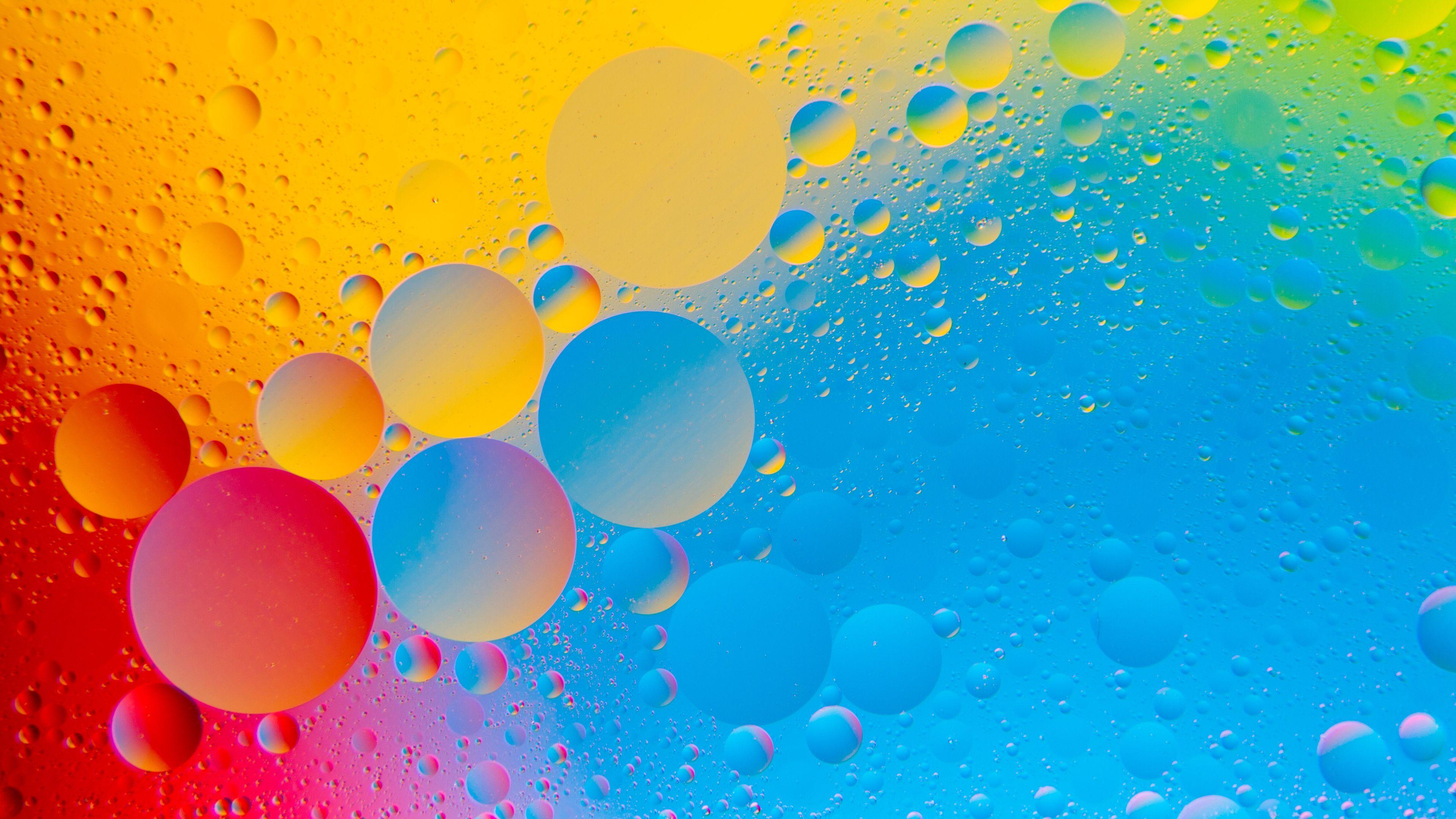3840x2160 Bong bóng hình nền, Vòng tròn, Đầy màu sắc, 4K, Trừu tượng