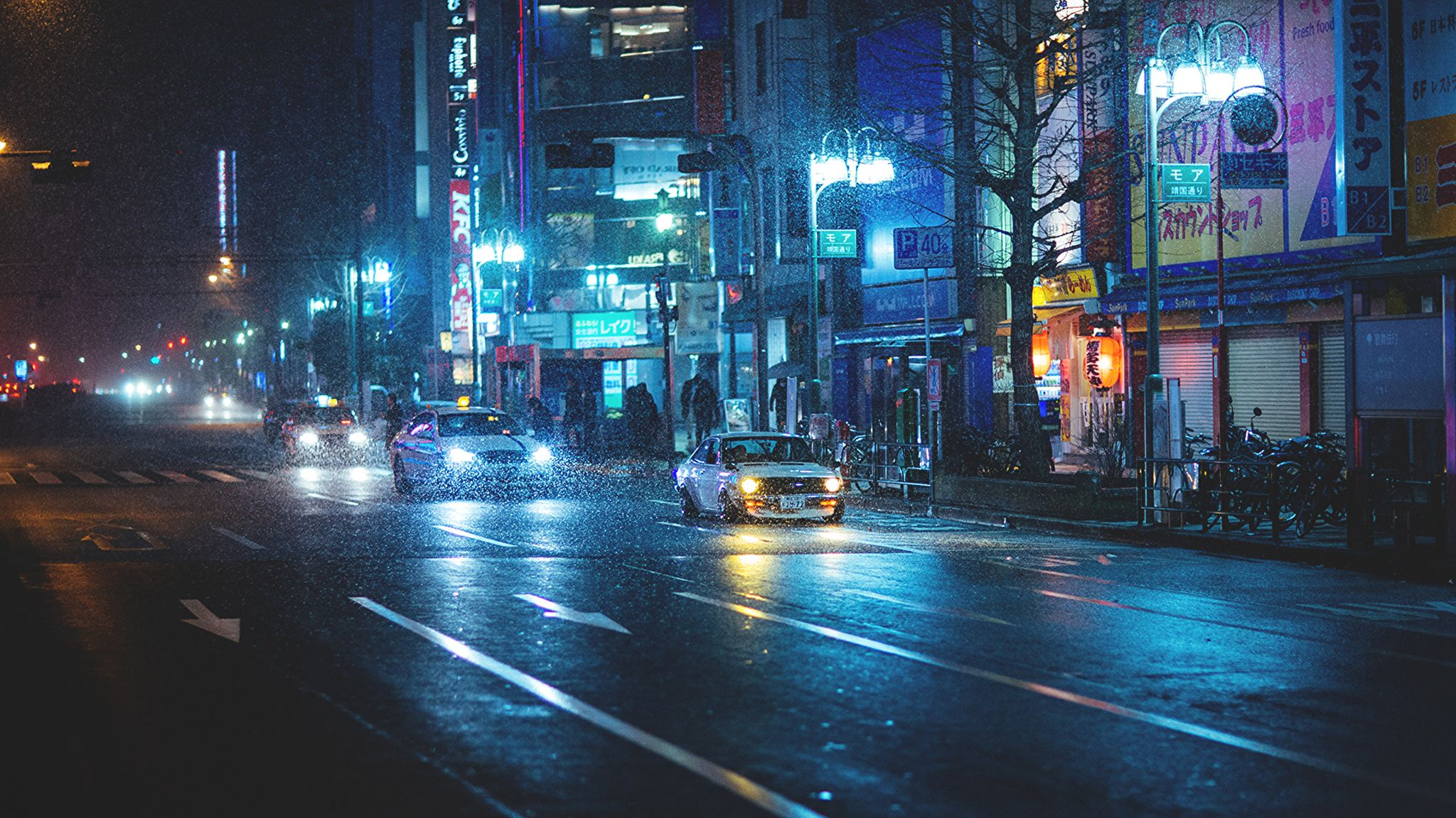 Japan Street Night Wallpapers Top Free Japan Street Night Backgrounds Wallpaperaccess