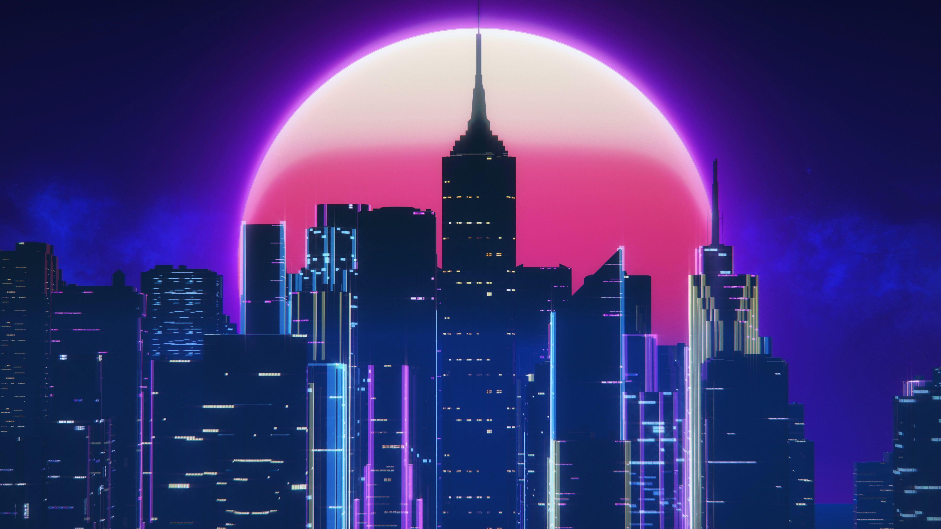 3840x2160 Synthwave City Retro Neon 4k, Nghệ sĩ HD, Hình nền 4k, Hình ảnh