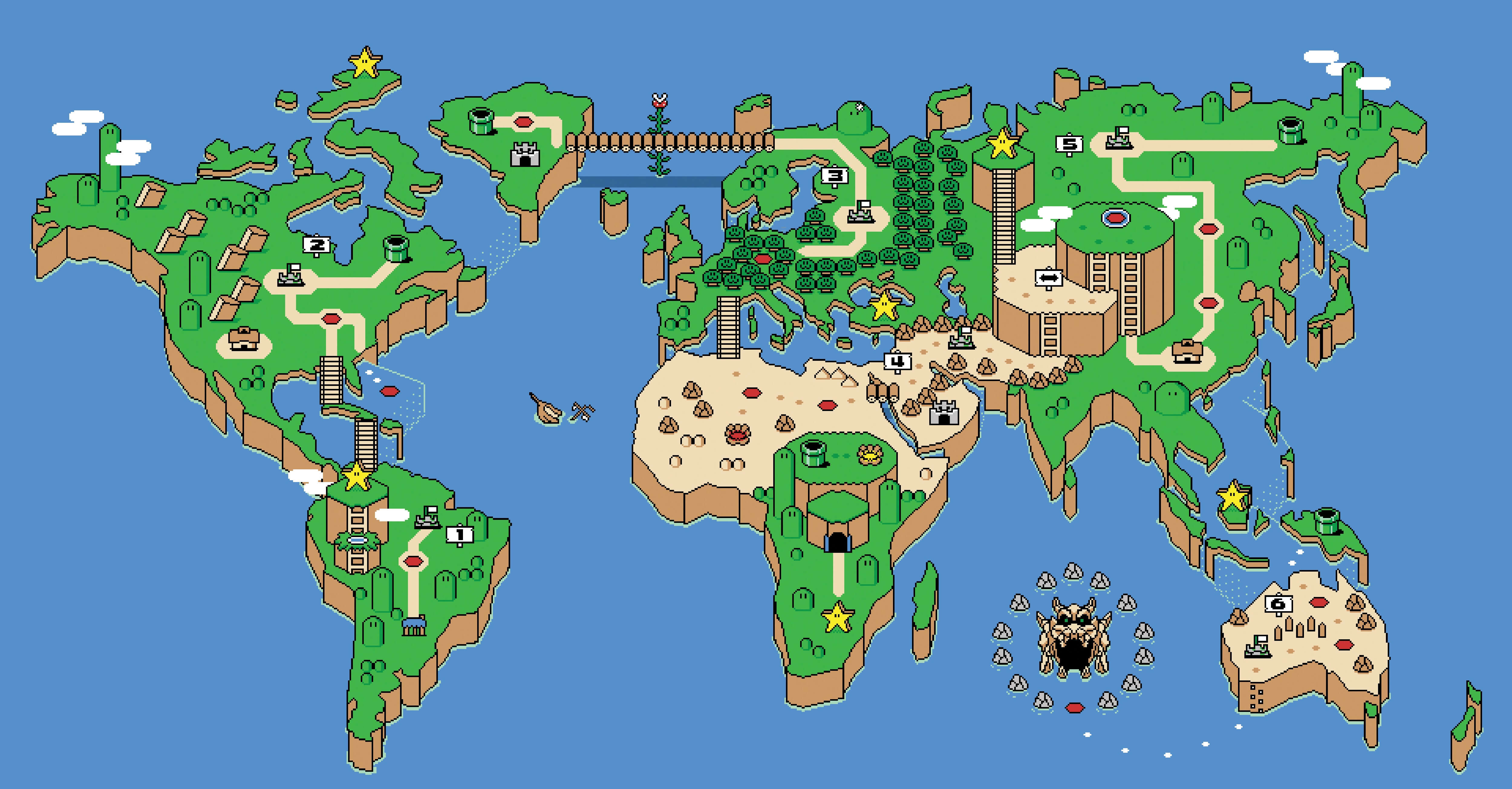 Hình nền bản đồ thế giới Super Mario 5000x2609