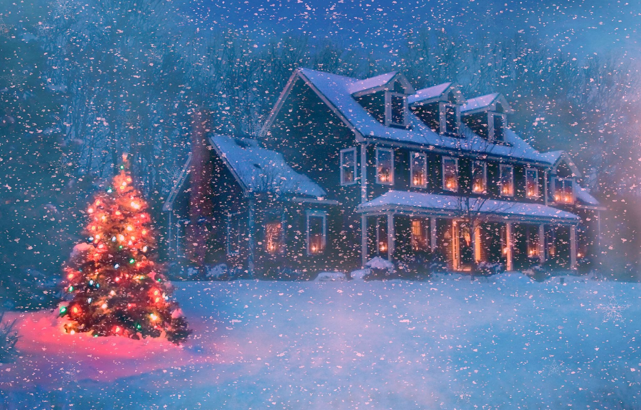 Christmas Houses Desktop Wallpapers Top Free Christmas Houses Desktop Backgrounds Wallpaperaccess