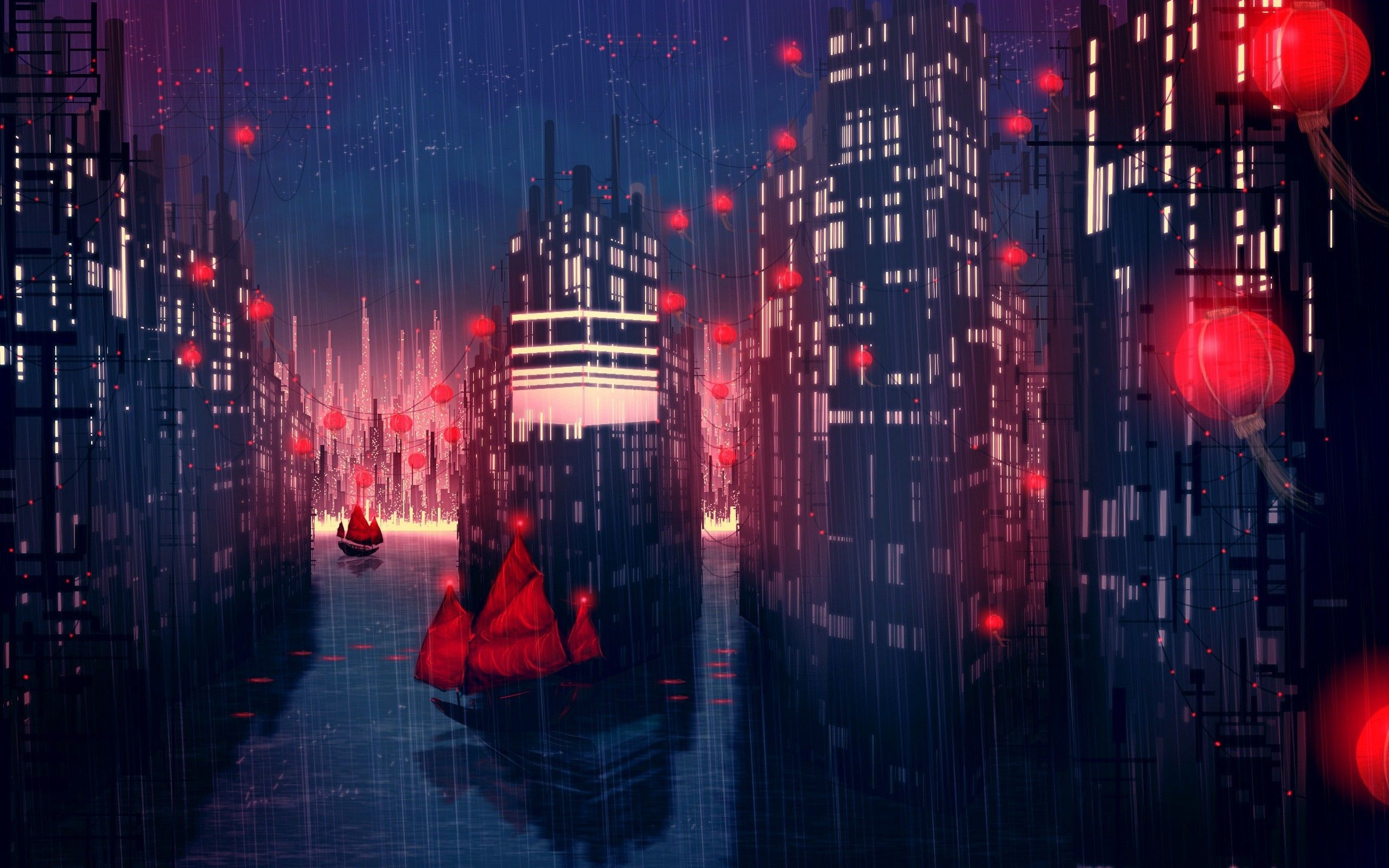 Anime City Night Scenery Wallpapers Top Free Anime City Night
