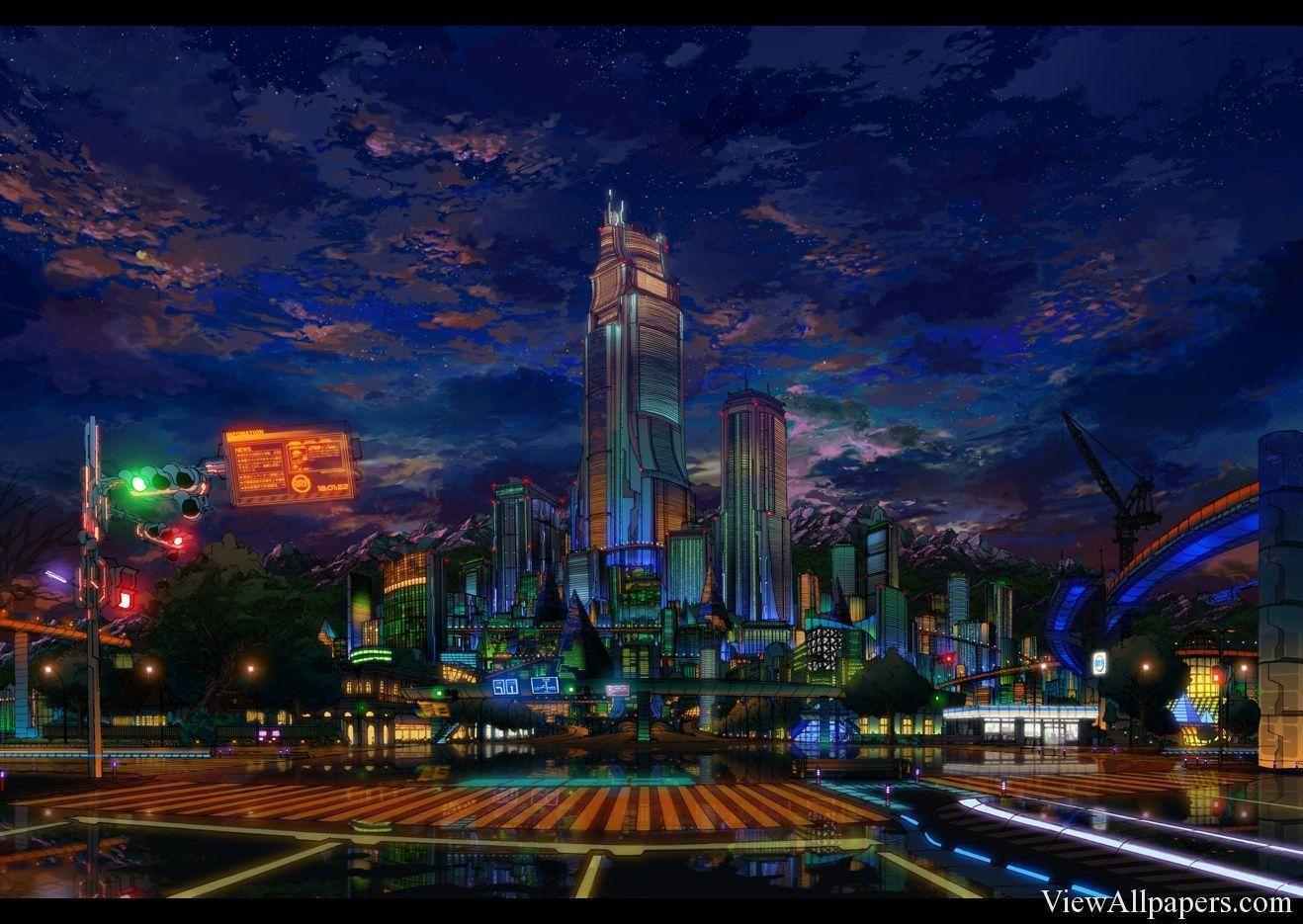 Anime City Night Scenery Wallpapers - Top Free Anime City ...