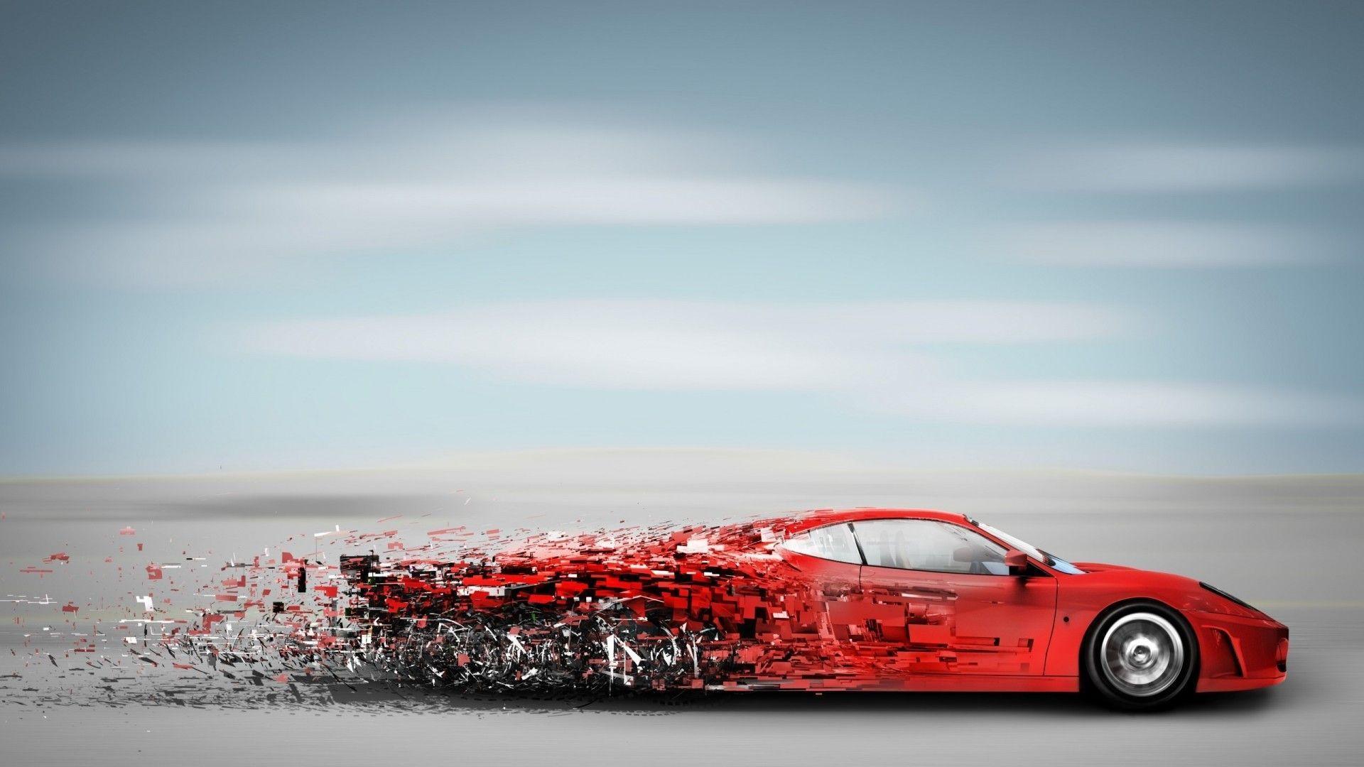 1920x1080 Xe tốc độ màu đỏ trừu tượng - Hình nền xe thể thao.  Hình nền trừu tượng