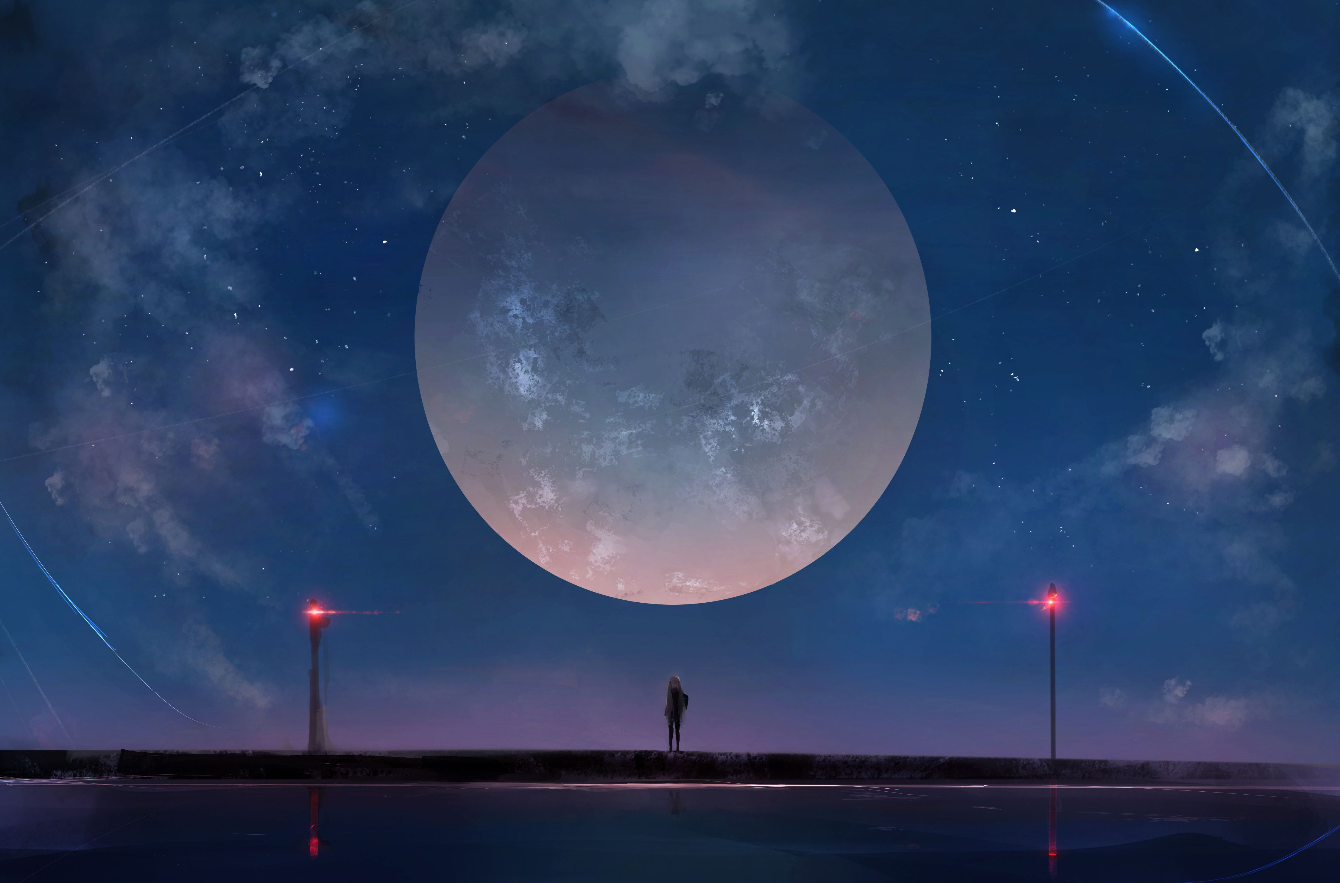 Anime Night Sky Wallpapers Top Free Anime Night Sky Backgrounds Wallpaperaccess