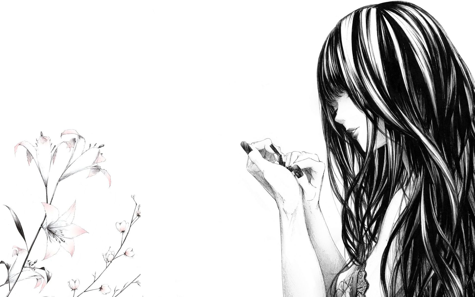 Art Black And White Wallpaper Anime