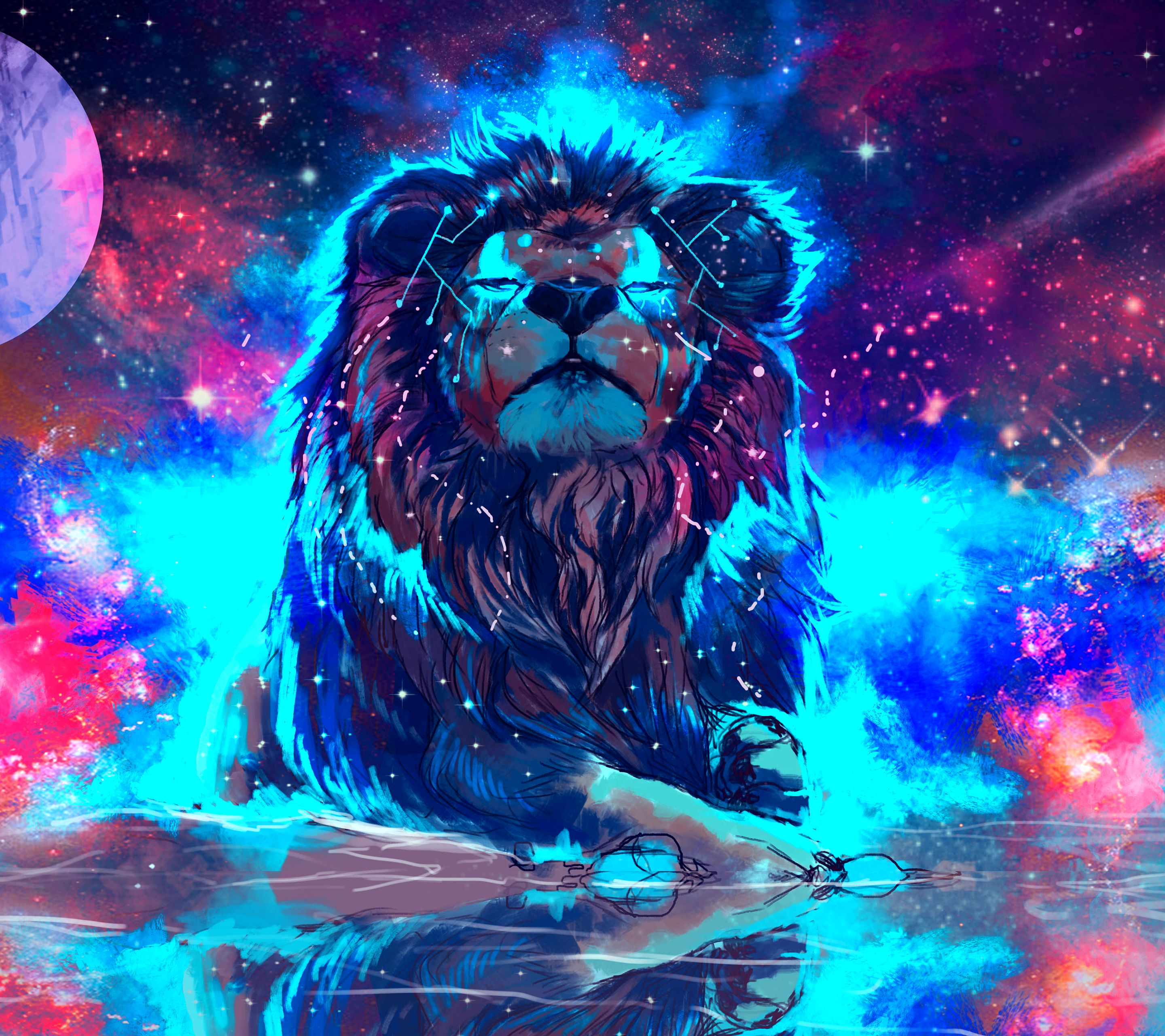 Lion Galaxy Wallpapers Top Free Lion Galaxy Backgrounds Wallpaperaccess