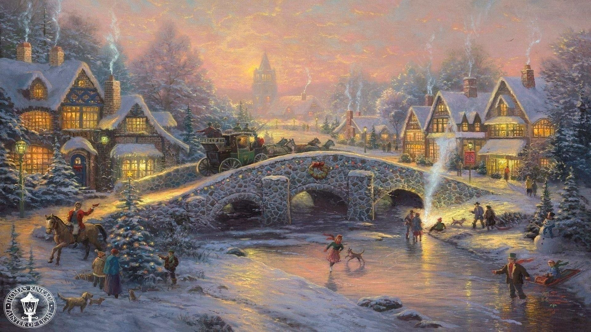 "1920x1080 Thomas Kinkade Christmas Backgrounds ·①""> · Download"