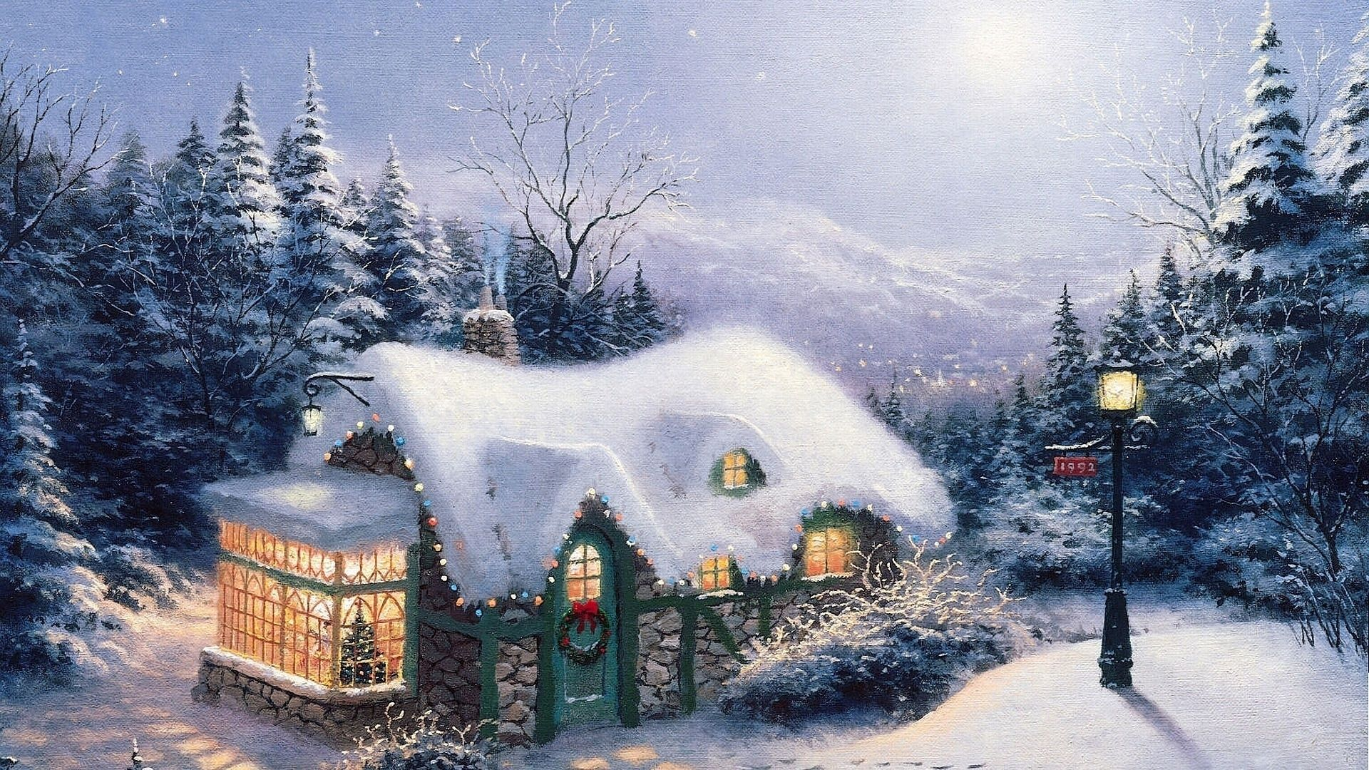 "1920x1080 Thomas Kinkade Christmas Backgrounds (56+ images)"">"