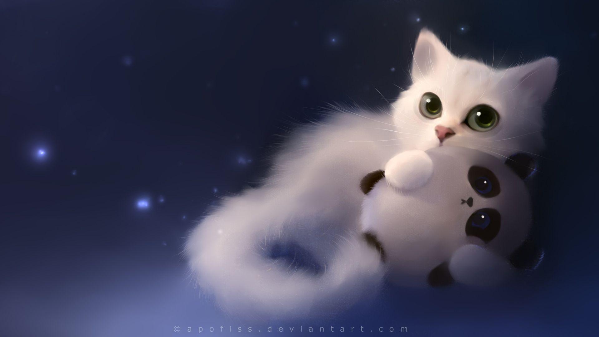 1920x1080 Hình nền vẽ con mèo anime dễ thương - Hình nền vẽ bằng bút chì và màu