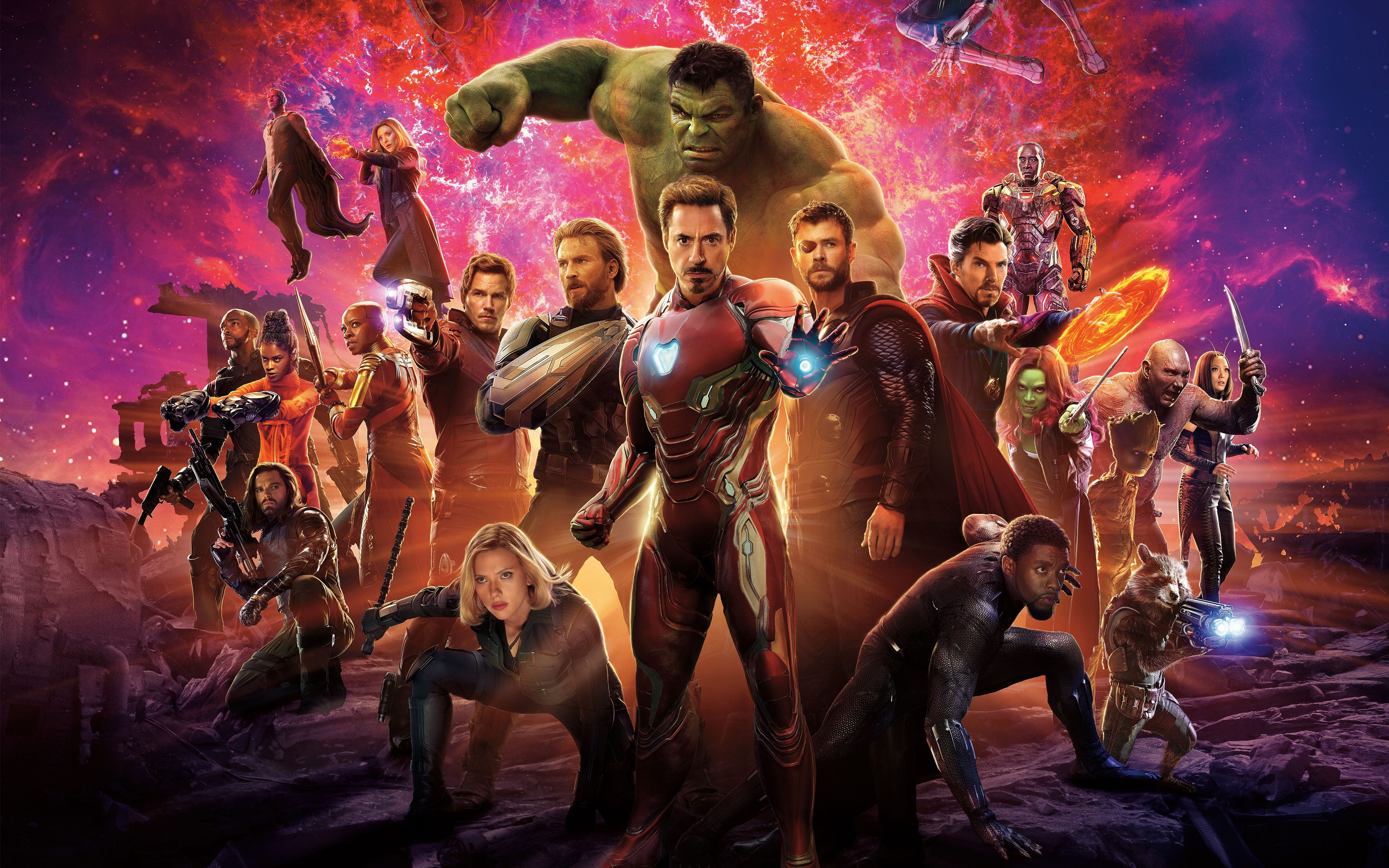 "3840x2160 Wallpaper Avengers Infinity War Thor Groot Rocket Star Lord Gamora ..."">"