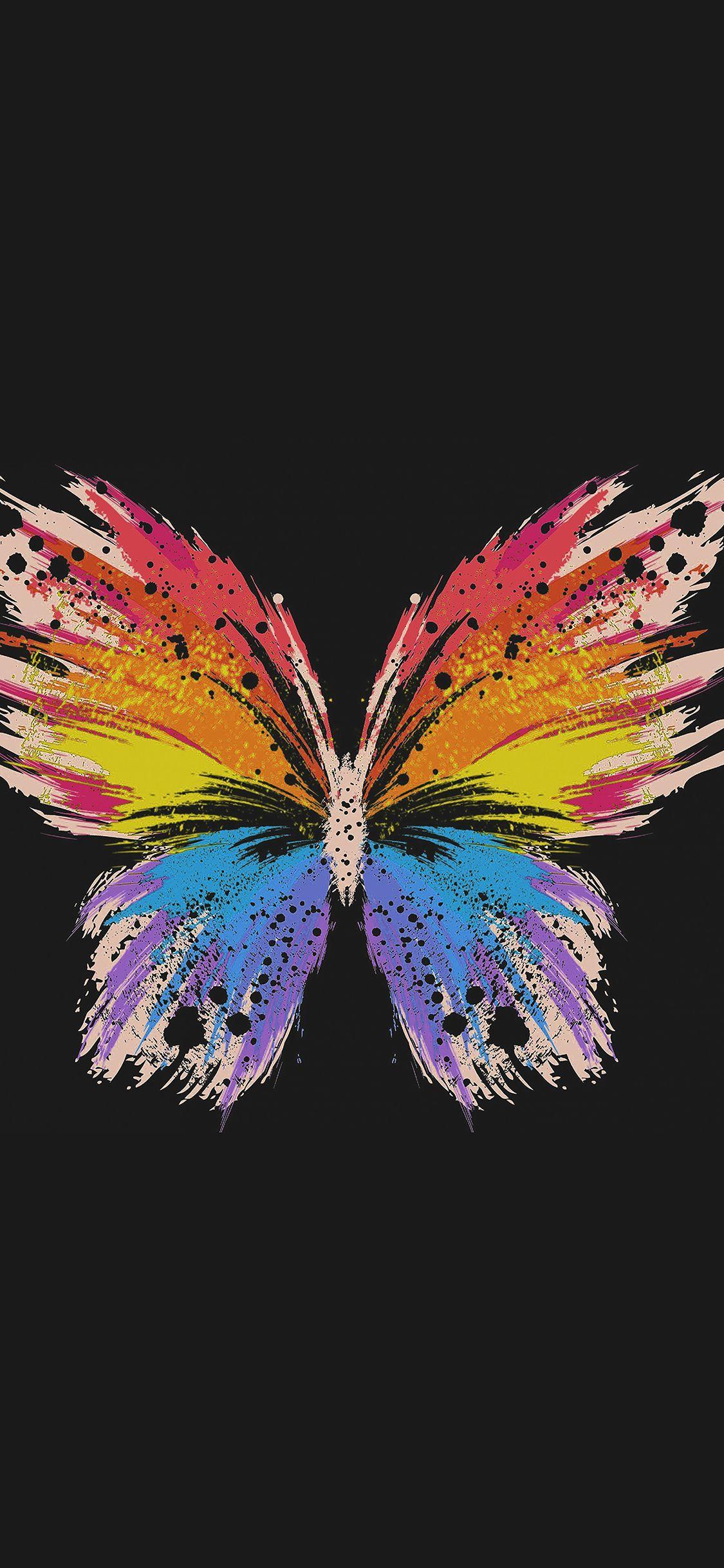 1125x2436 Hình nền iPhone.  bướm nghệ thuật vẽ minh họa cho bóng tối dễ thương
