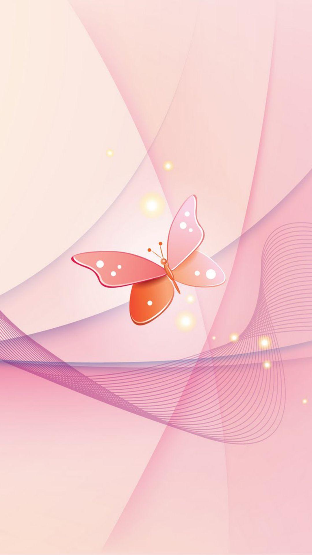 Hình nền iPhone 1080x1920 Pink Butterfly